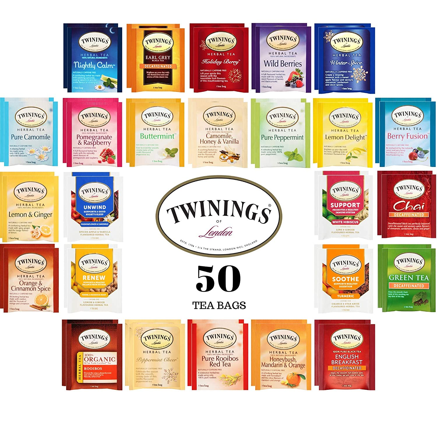Twinings Herbal and Decaf Tea Bags Sampler, 50 Ct, 25 Flavors