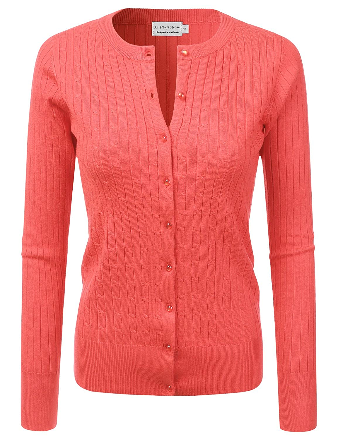 JJ Perfection Women s Long Sleeve Crew Neck Button Down Twist Knit Cardigan  Coral 1X at Amazon Women s Clothing store  e8a07300b