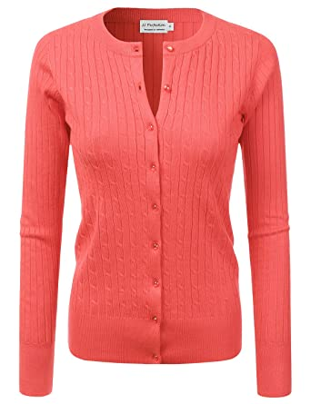 378628c717 JJ Perfection Women s Long Sleeve Crew Neck Button Down Twist Knit Cardigan  Coral 1X at Amazon Women s Clothing store