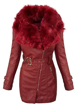 Damen Winter Mantel Kunstlederjacke Kunstfellkragen Jacke Damenjacke D-378   Amazon.de  Bekleidung 0f53a289ff