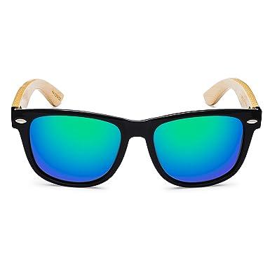 e186442e5139e Handmade Wayfarer Style Black Frame Green Mirrored Wooden Sunglasses  Polarized Real Bamboo Revo Mirrored Lenses 100