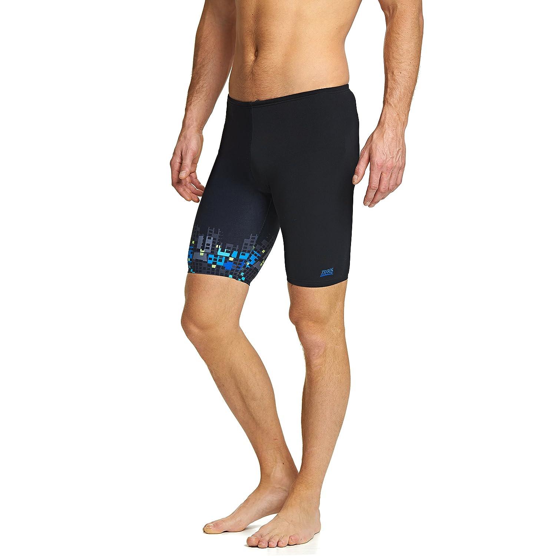 TALLA L. Zoggs Bañador de natación para Hombres, Modelo Porter, Hombre, Color Black/Multi-Colour, tamaño L