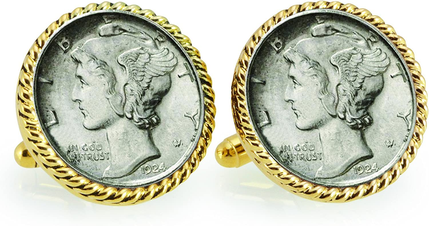 Silver Mercury Dime Goldtone Rope Bezel Coin Cuff Links | United States Coins | Men's Cufflinks | Genuine Silver Coins