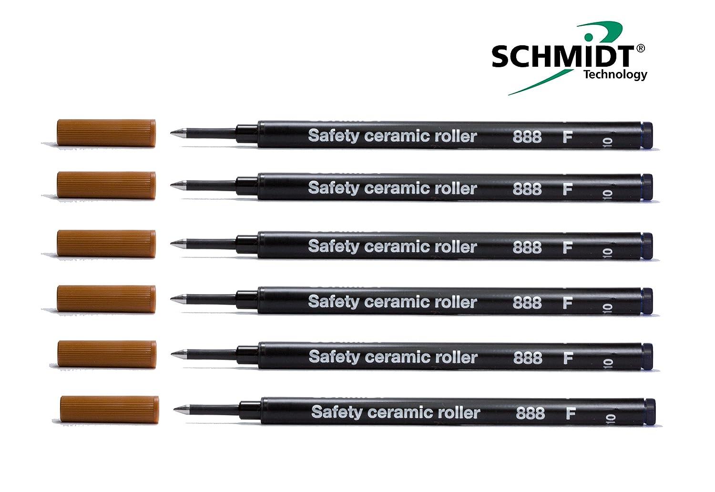 6 Pack - Private Reserve Ink Schmidt 888 Rollerball Refill Black Fine Tip