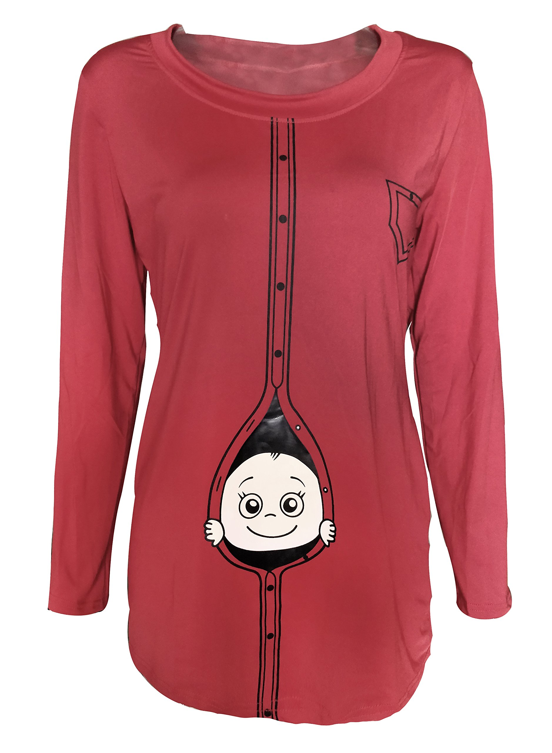 Amazing Speed Women Christmas Plus Size Funny Baby Maternity Shirts Pregnant Top Blouse (XXL, Red)
