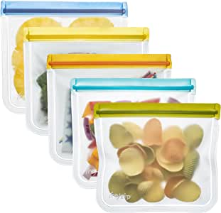 rezip Lay-Flat Lunch Leakproof Reusable Storage Bag 5-Pack (Multi Color)