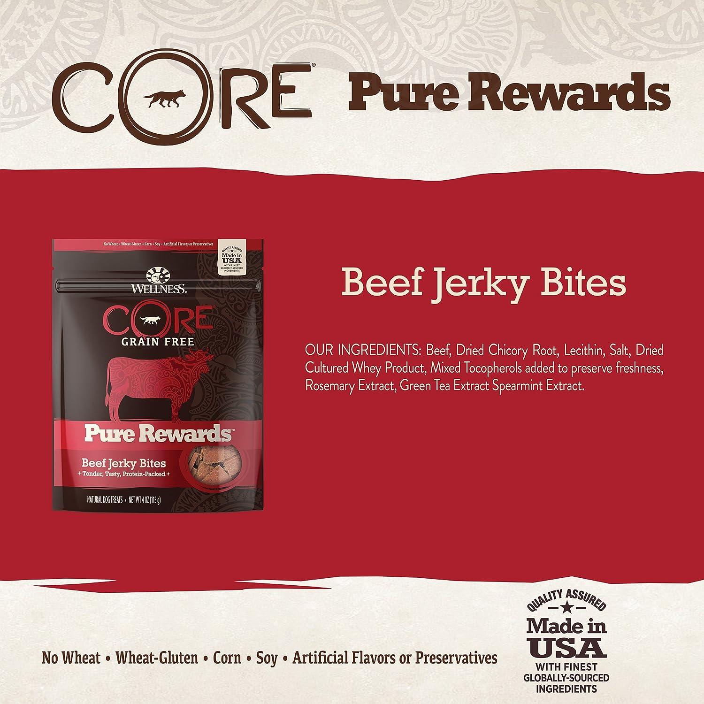 Wellness Core Pure Rewards Natural Grain Free Dog Treats Soft Jerky Bites 4-Ounce Bag