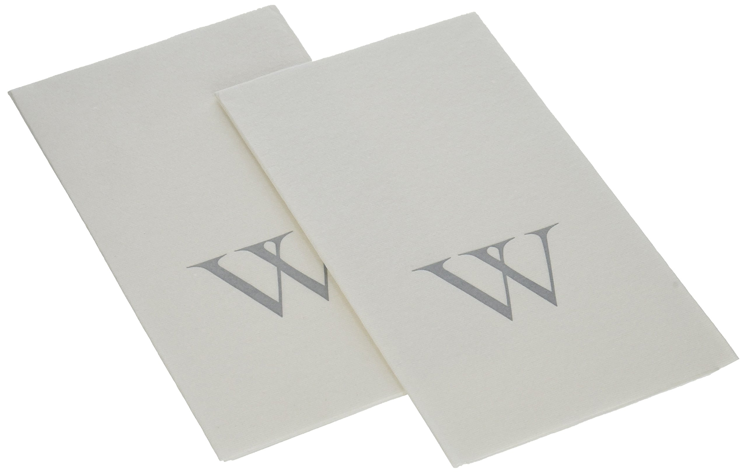 Caspari Entertaining Paper Linen Guest Towels (Box of 24), Silver Initial W, White Pearl