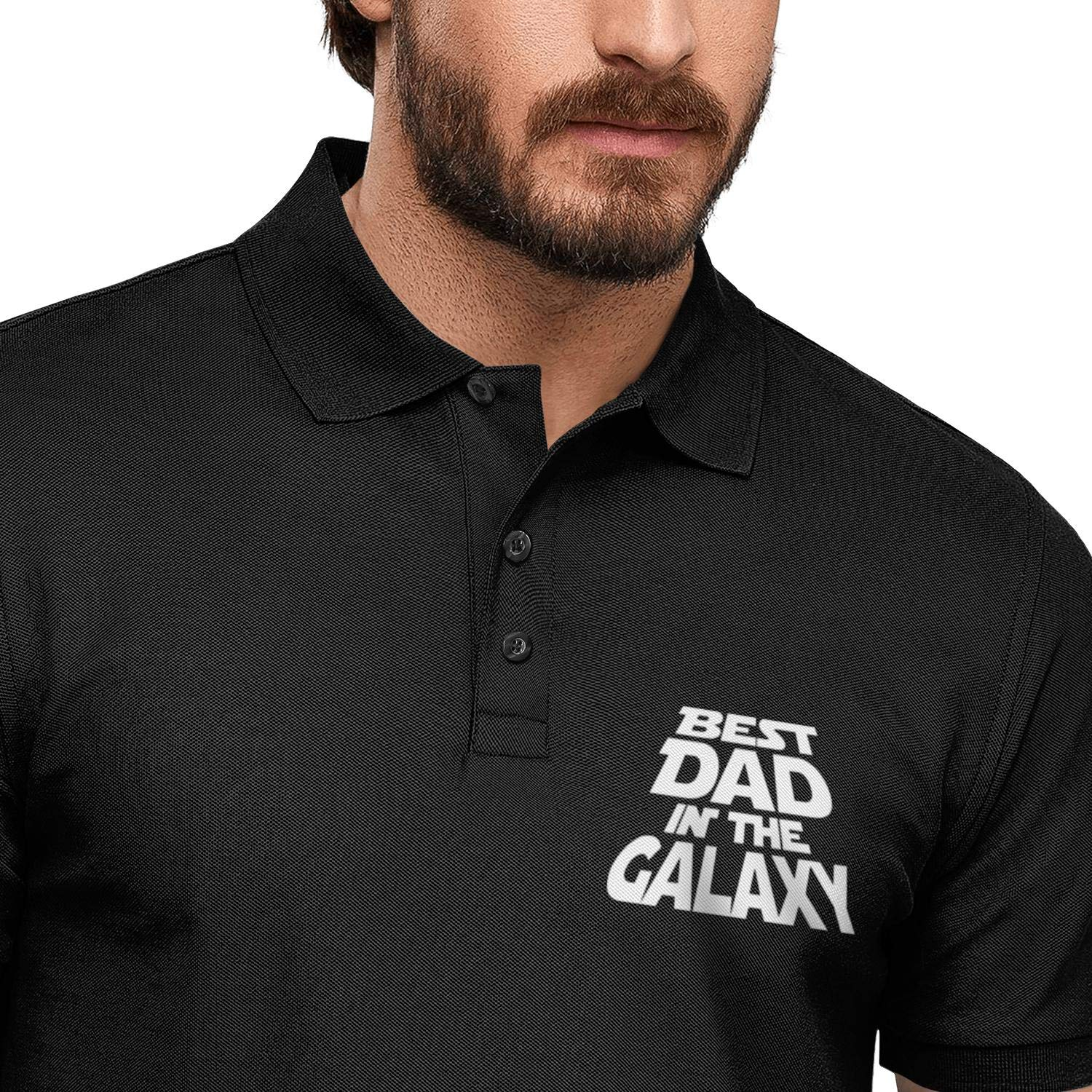 WYFEN Men Printed Polo Shirt Best Dad in The Galaxy Fathers Day Funny Short Sleeve T-Shirt