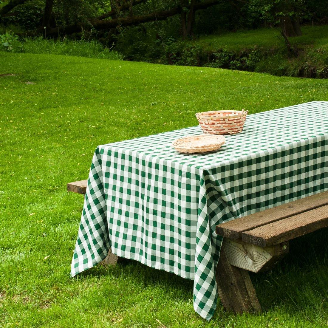 Amazon.com: LinenTablecloth 60 X 102 Inch Rectangular Tablecloth Green U0026  White Checker: Home U0026 Kitchen