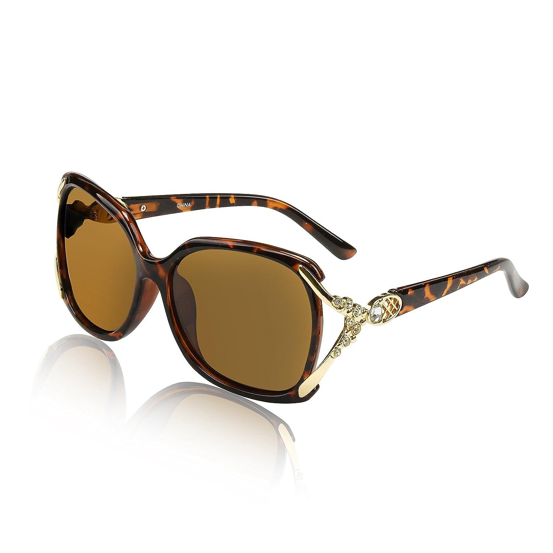 Tortoise Frame With Rhinstones SunnyPro Designer Oversized Polarized Sunglasses For Women UV400 Sun Glasses