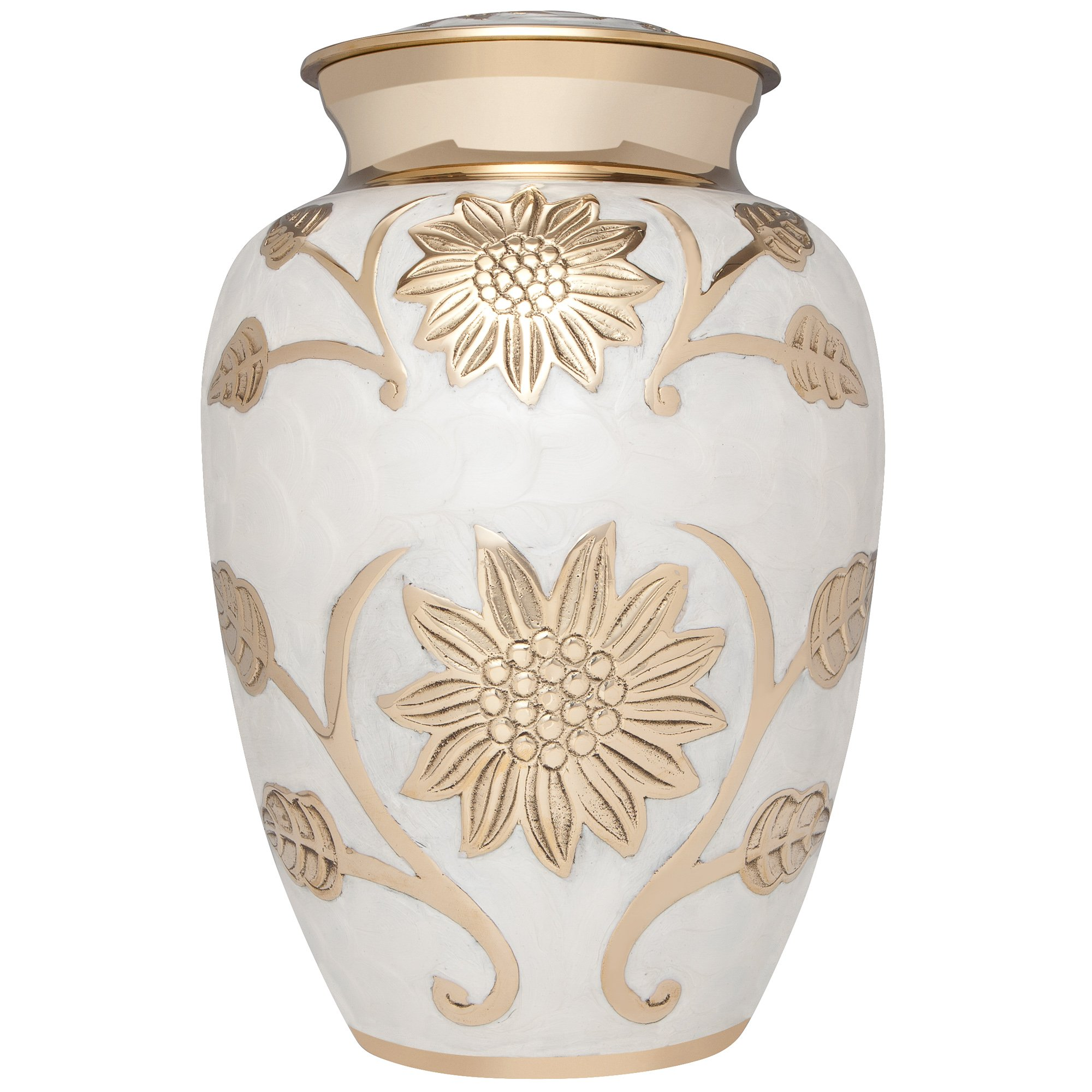 White Funeral Urn by Liliane Memorials - Cremation Urn for Human Ashes - Hand Made in Brass -Suitable for Cemetery Burial or Niche- Large Size fits remains of Adults up to 200 lbs- Lisette Blanc Model