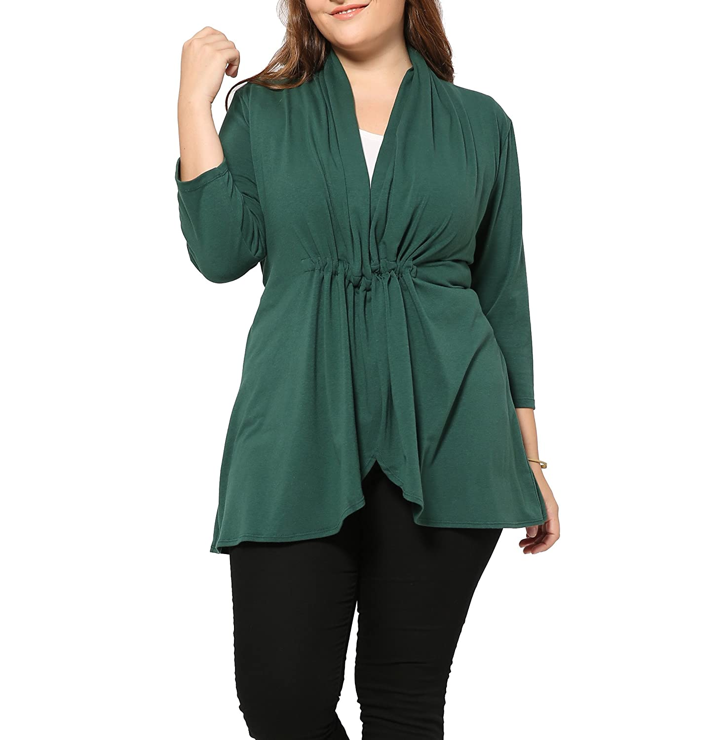 Plus Size 3/4 Sleeve Soft Knit Tops Cardigan Sweater For Women UK SIZE ( 14 16 18 20 22 24 26 28 30 32 34 36 )