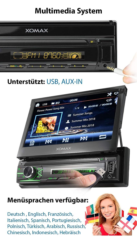 18 cm I RDS USB XOMAX XM-VN745 Radio de Coche con Mirrorlink I Navegador GPS I Bluetooth I Pantalla t/áctil 7 AUX I Conexiones para c/ámara de Marcha atr/ás y Mando a Distancia del Volante I 1 DIN