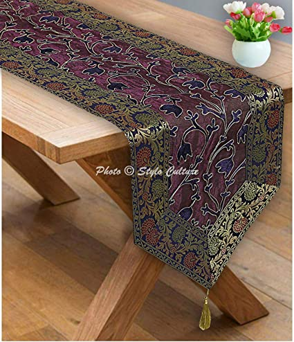 Elegantly embroidered lace satin top quality table runners for furniture /& table