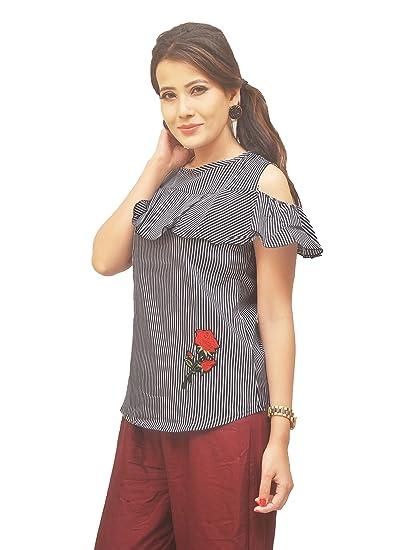 604900c222e63 Digital Dukan Elegant Cold Shoulder Top with Stripes   Rose Design ...