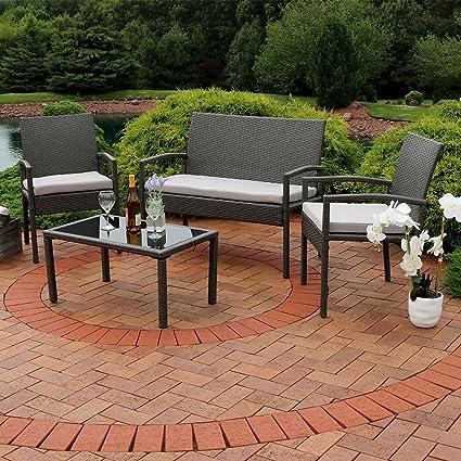 Superior Sunnydaze Pompeii 4 Piece Outdoor Wicker Rattan Lounger Patio Furniture Set  With Grey Cushions