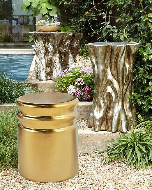 Matte Black 16 Round Glazed Elliptical Pattern Ceramic Garden Stool Decorative Side Table for Garden MOTINI Ceramic Stool Patio Home Indoor /& Outdoor Lawn
