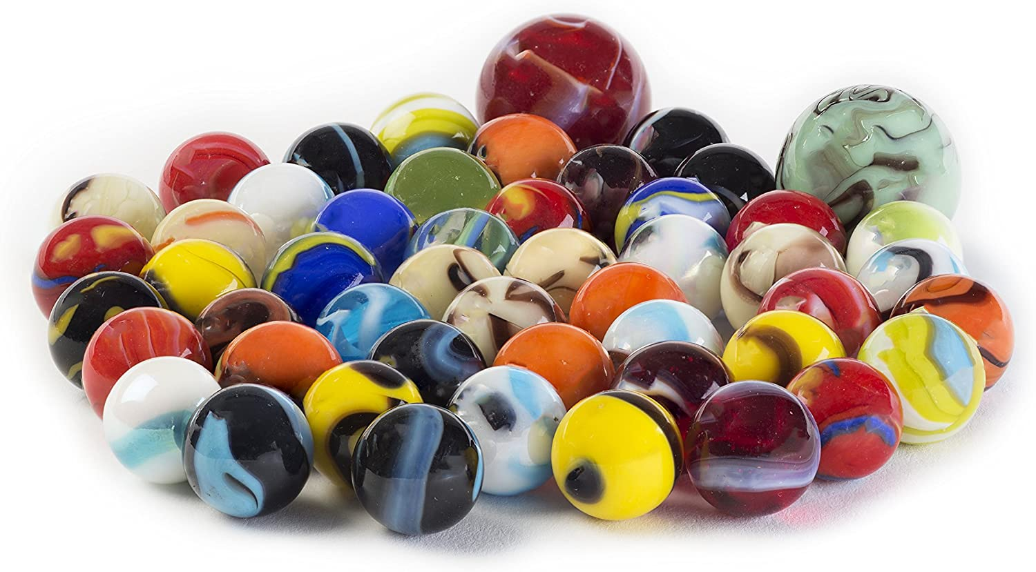 Glass Marbles Bulk, Set OF 50, (48 Players and 2 Shooters) Assorted Colors, Styles, and Finishes. with Game Marbles Rules.