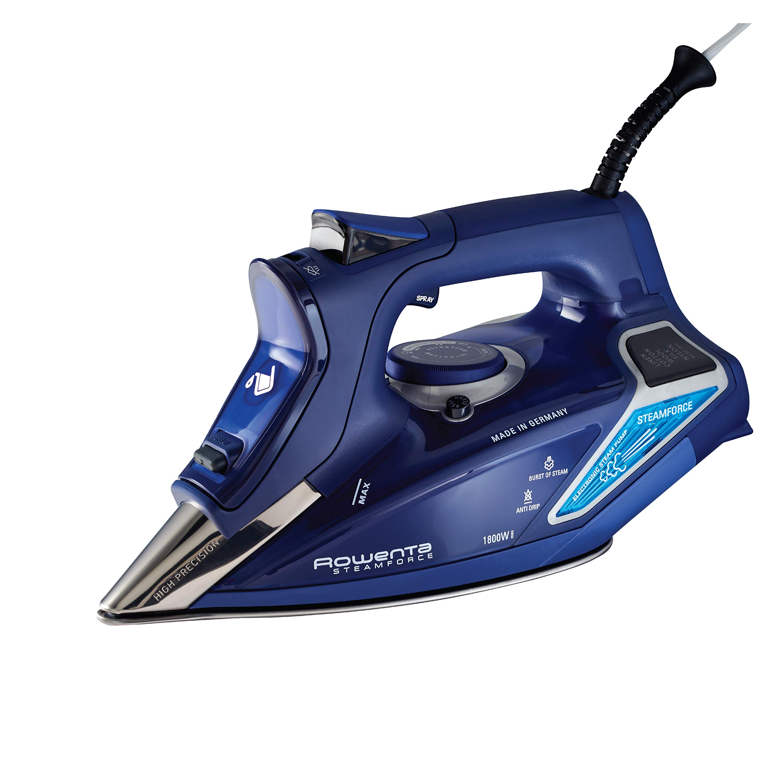 Rowenta DW9280 Digital Display Steam Iron, Stainless Steel Soleplate, 1800-Watt, 400-Hole, Blue by Rowenta
