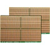 SB4 (Two Pack) Snappable PC BreadBoard, Scored PCB, Snaps Into 4 Small Boards, 2-Layer, Plated Holes, Power Rails, 2.5 x 3.8in (63.5 x 96.5mm)