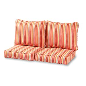 Greendale Home Fashions Deep Seat Loveseat Cushion Set in Coastal Stripe, Watermelon