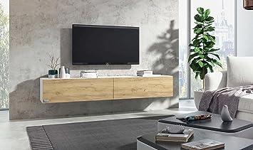 Wuun Tv Board Hängend 8 Größen 5 Farben 140cm Matt Weiß Eiche