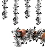 KIMOBER Halloween Tinsel Garland, Black and White Bat Metallic Tinsel Garland Decoration for Halloween Horror Party