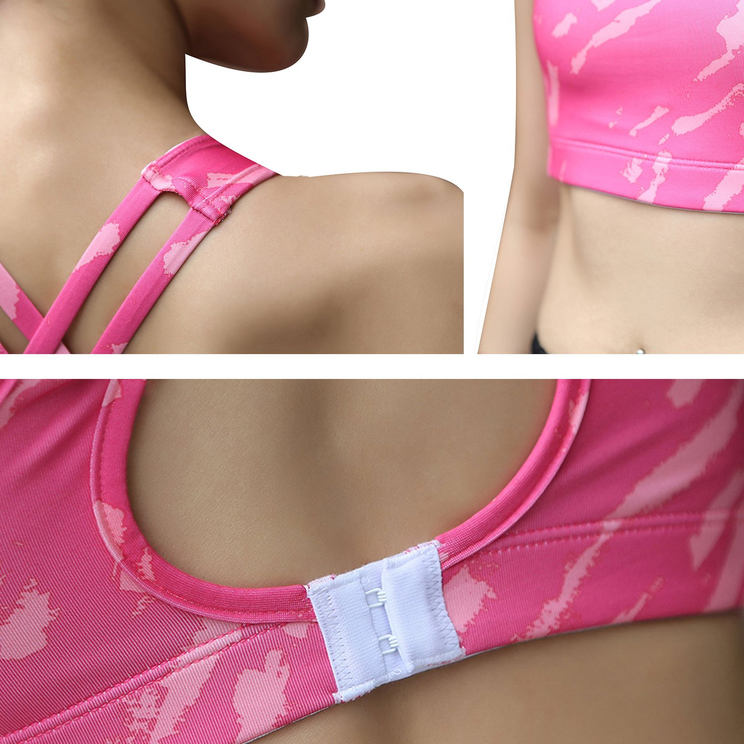 newlashua Padded Strappy Sports Bra Yoga Tops Activewear Gym Workout Clothes Women XXL Pink