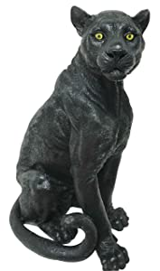 """Large Black Panther Statue 20.5""""Tall Wildlife Black Jaguar Ghost Forest Hunter Sculpture Home And Garden Patio Decorative"""