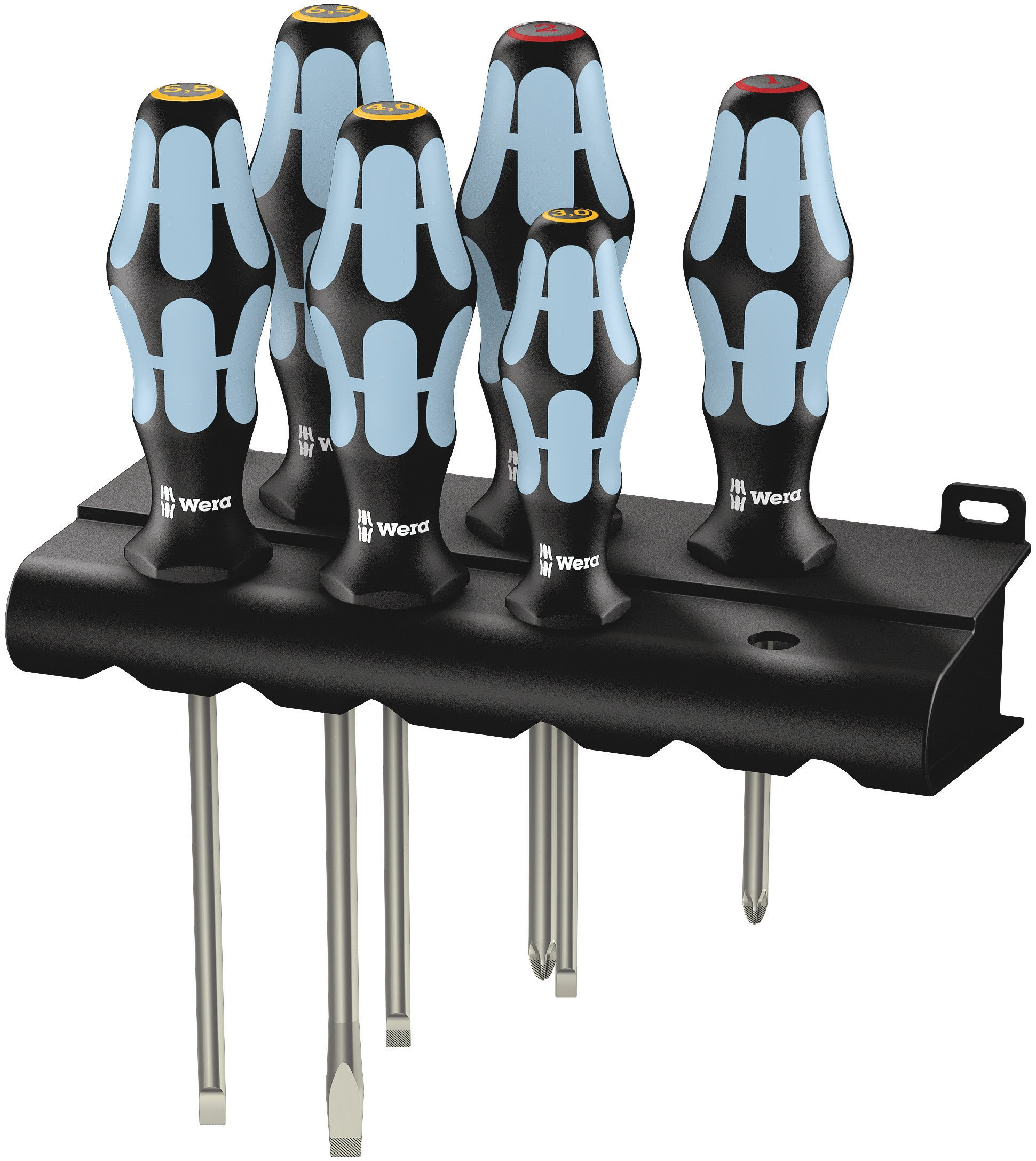 Wera 05032060001 Kraftform Stainless 3334/6 Stainless Steel Slotted/Phillips Screwdriver Set and Rack, 6-Piece