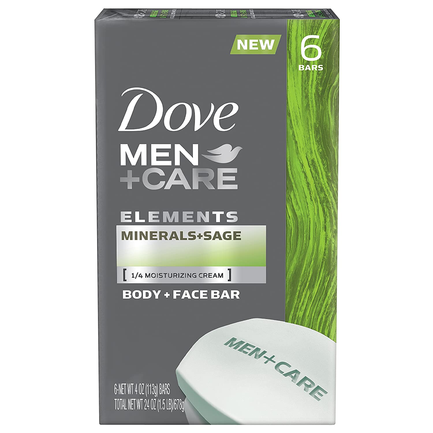Dove Men+care Elements Bar, Minerals and Sage, 6 Count, 24 Ounce
