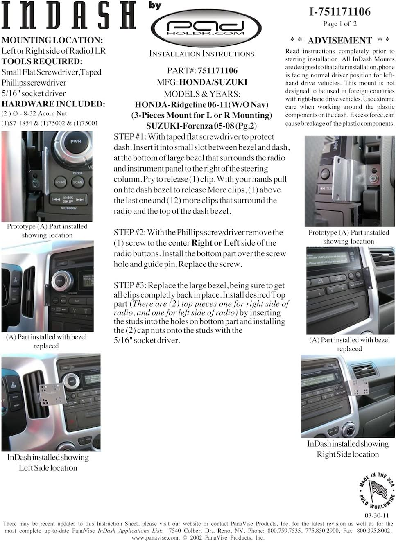 Padholdr Social Series Premium Tablet Dash Kit for 2006-2012 Honda Ridgeline without Navigation Pad Holdr PHSO751171106-1