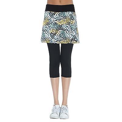 HonourSport Women's Skirted Capris Leggings,Side Slit Printed Tennis Skorts