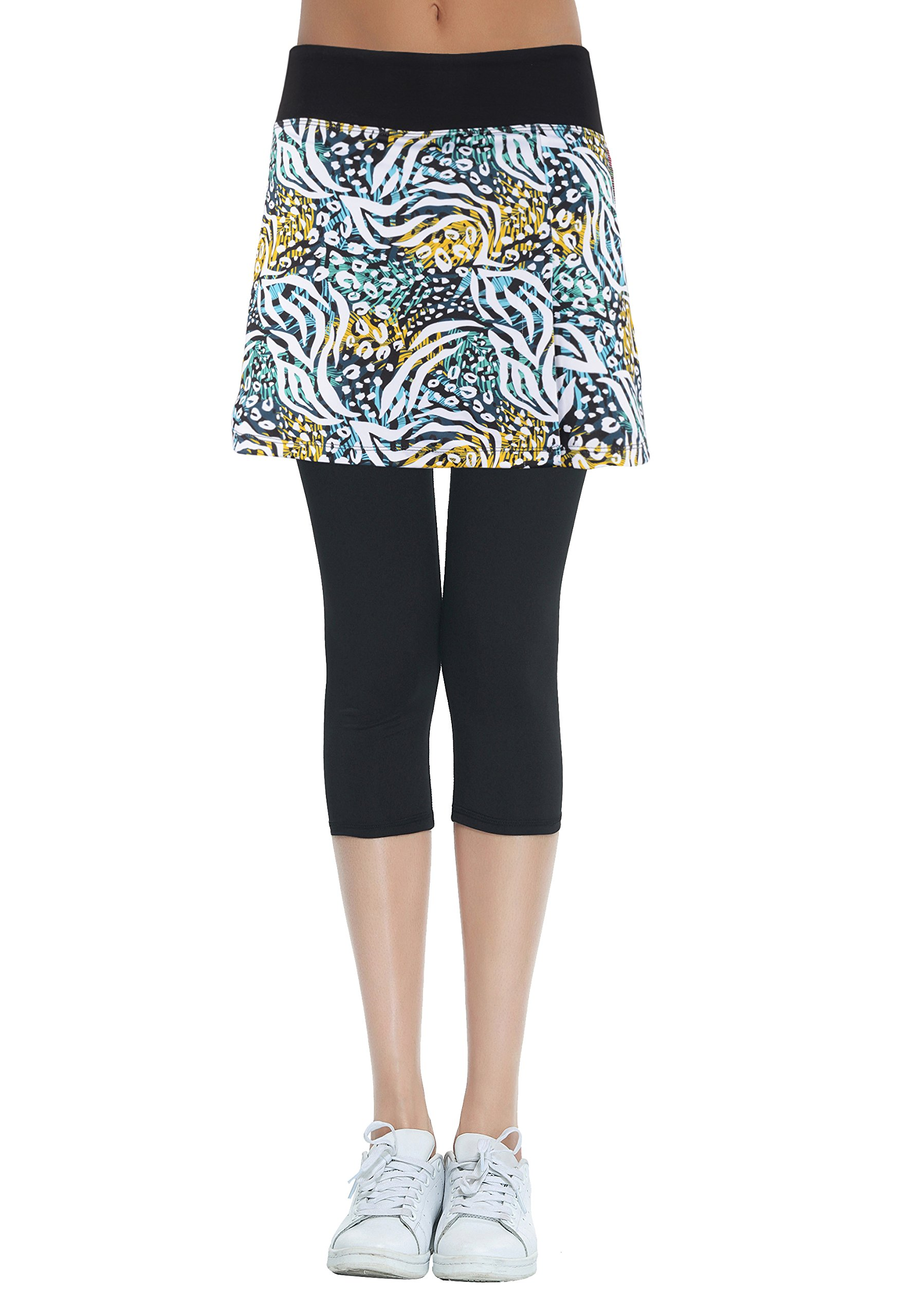 HonourSport Women's Skirted Capris Leggings,Side Slit Printed Tennis Skorts(Printed Leopard,L)