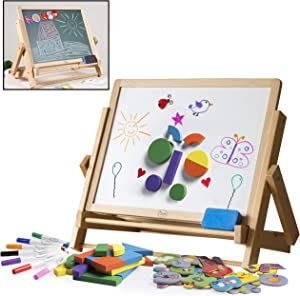 Double-Sided Tabletop Easel 80pc Activity Set for Kids- Childrens Magnetic Dry Erase Whiteboard & Chalkboard, Alphabet Phonic Letters& Shapes - Homeschool and Art STEM Play Center