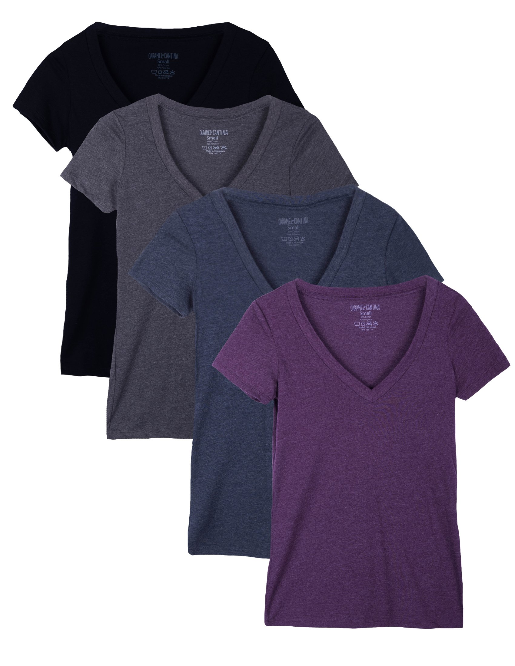 Caramel Cantina 4 Pack Deep V Neck Women's Slim T-Shirt (Medium, Pl/Ch/NVY/Blk)