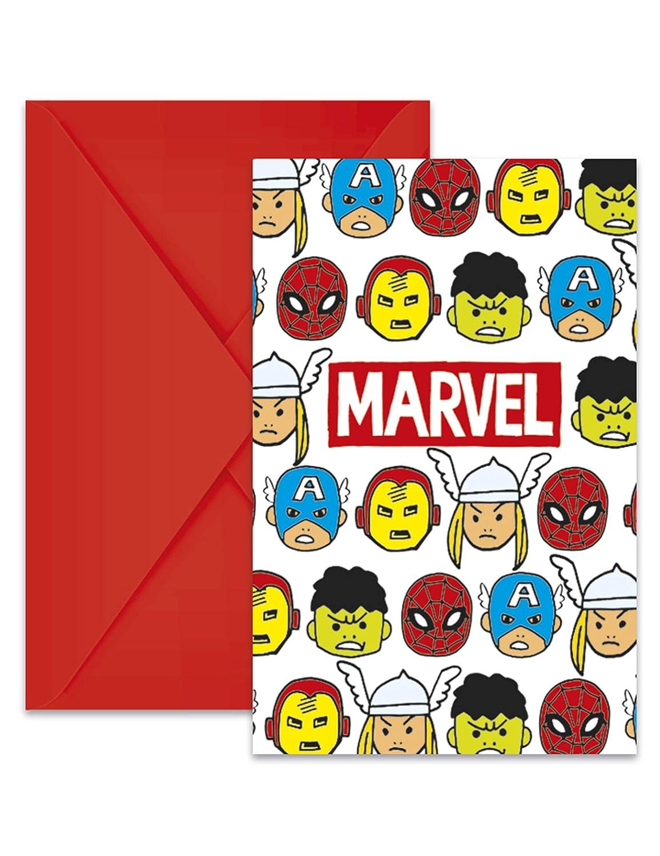 COOLMP - Lote de 6 Invitaciones + Sobres Avengers Pop Comic ...
