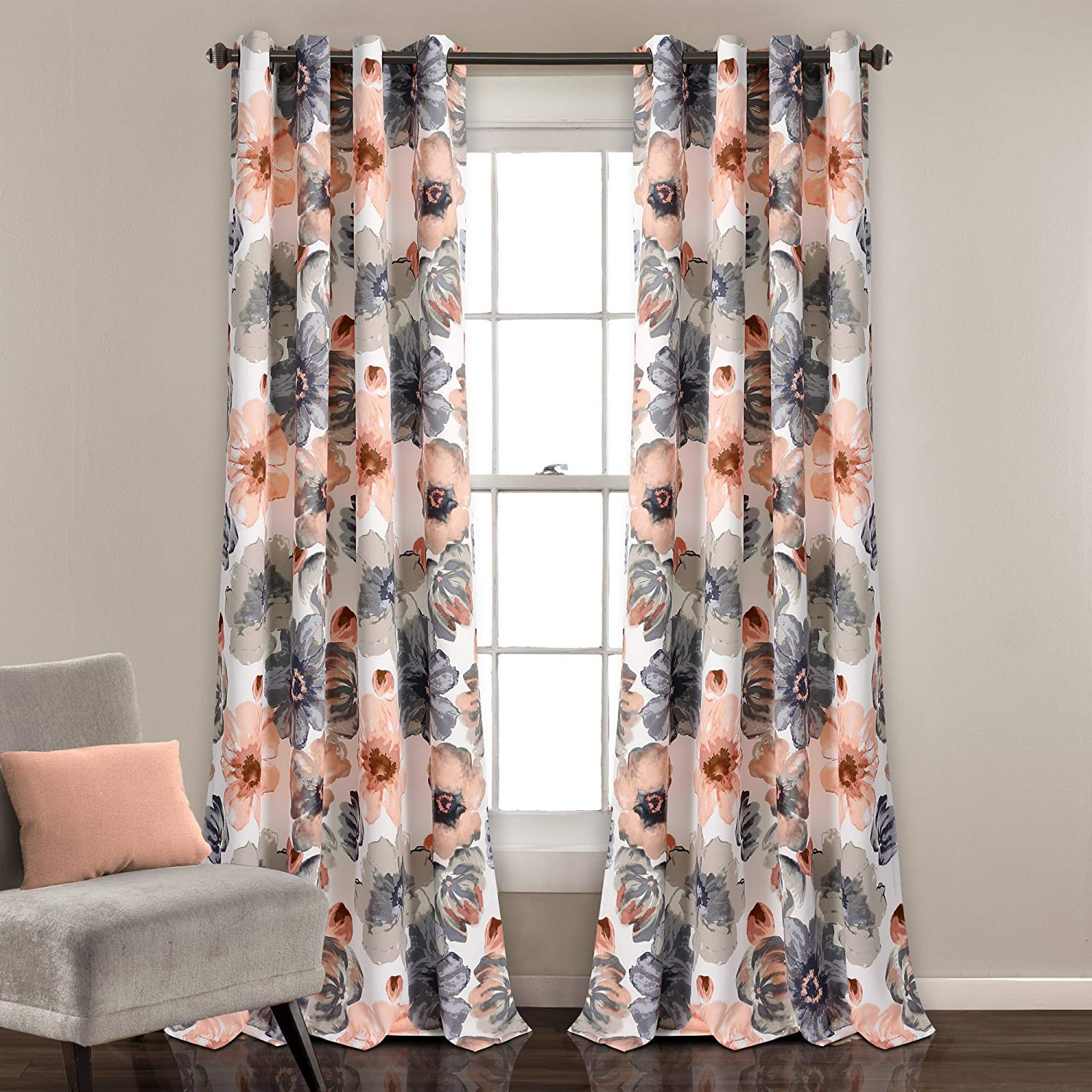 """Jody Clarke 2PC Room Darkening Window Curtain Flowers Pattern Set Energy Saver with Bronze Grommets in Multiple Colors and Sizes Matched Valance Sold Separately (84"""" Coral)"""