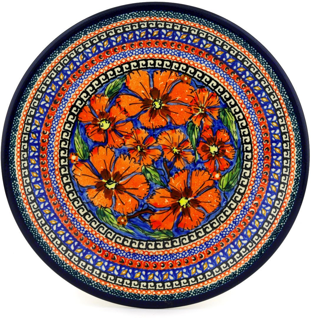 Polish Pottery Salad Plate 9-inch Poppies UNIKAT by Polmedia Polish Pottery