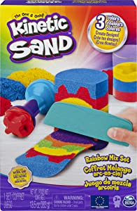 Kinetic Sand, Rainbow Mix Set with 3 Colors of Kinetic Sand (13.5oz) and 6 Tools, for Kids Aged 3 and up