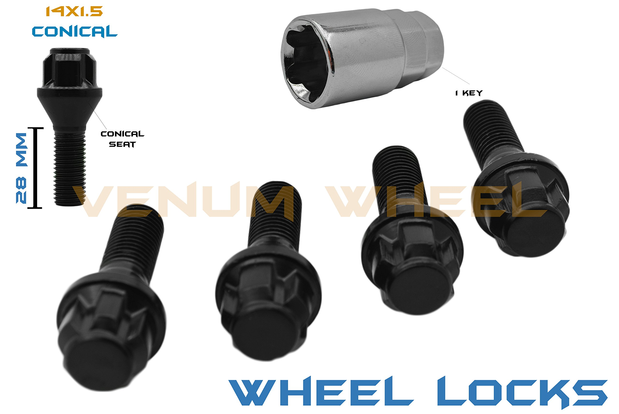 5 Pc Black Wheel Locks 14x1.5 Locking Bolts Lock Steel 28mm Stock Shank Lug Bolts With Key Tool Included Fits Audi Bmw Mercedes Benz Porsche Volkswagen