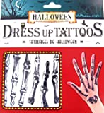 Scare Your Guests with These Temporary Fake Spooky Skeleton Tattoos for Halloween Fancy Dress Party 9 Assorted Tattoos Per Pack - Waterproof Halloween Makeup Kit - Easy to apply and remove - Pair with skeleton clothing (Skeleton)