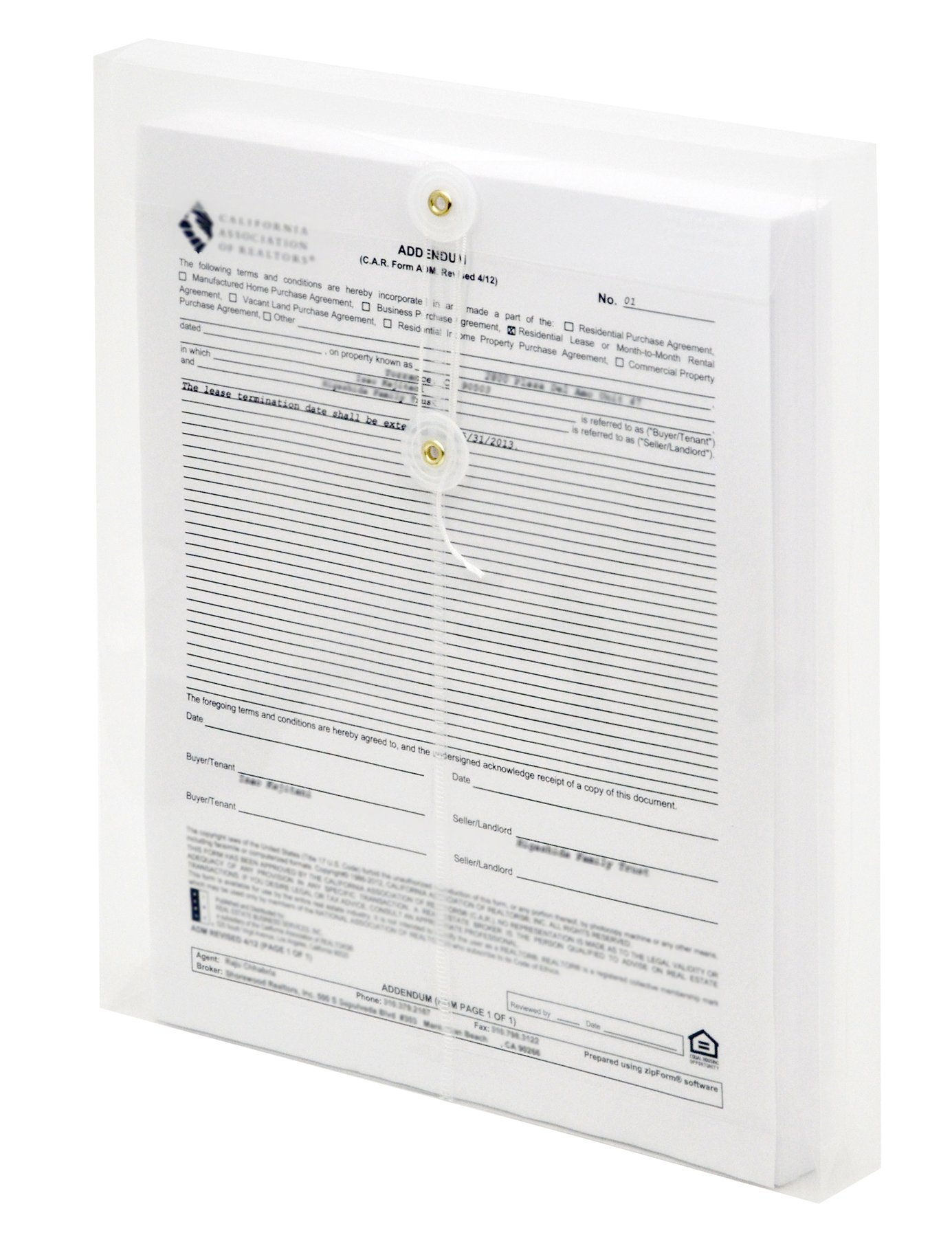 Lion String-A-Long Clear Poly Envelopes with Gusset, Letter, Top Load, 6 EA/Pack, 1 Pack (32000-CR)