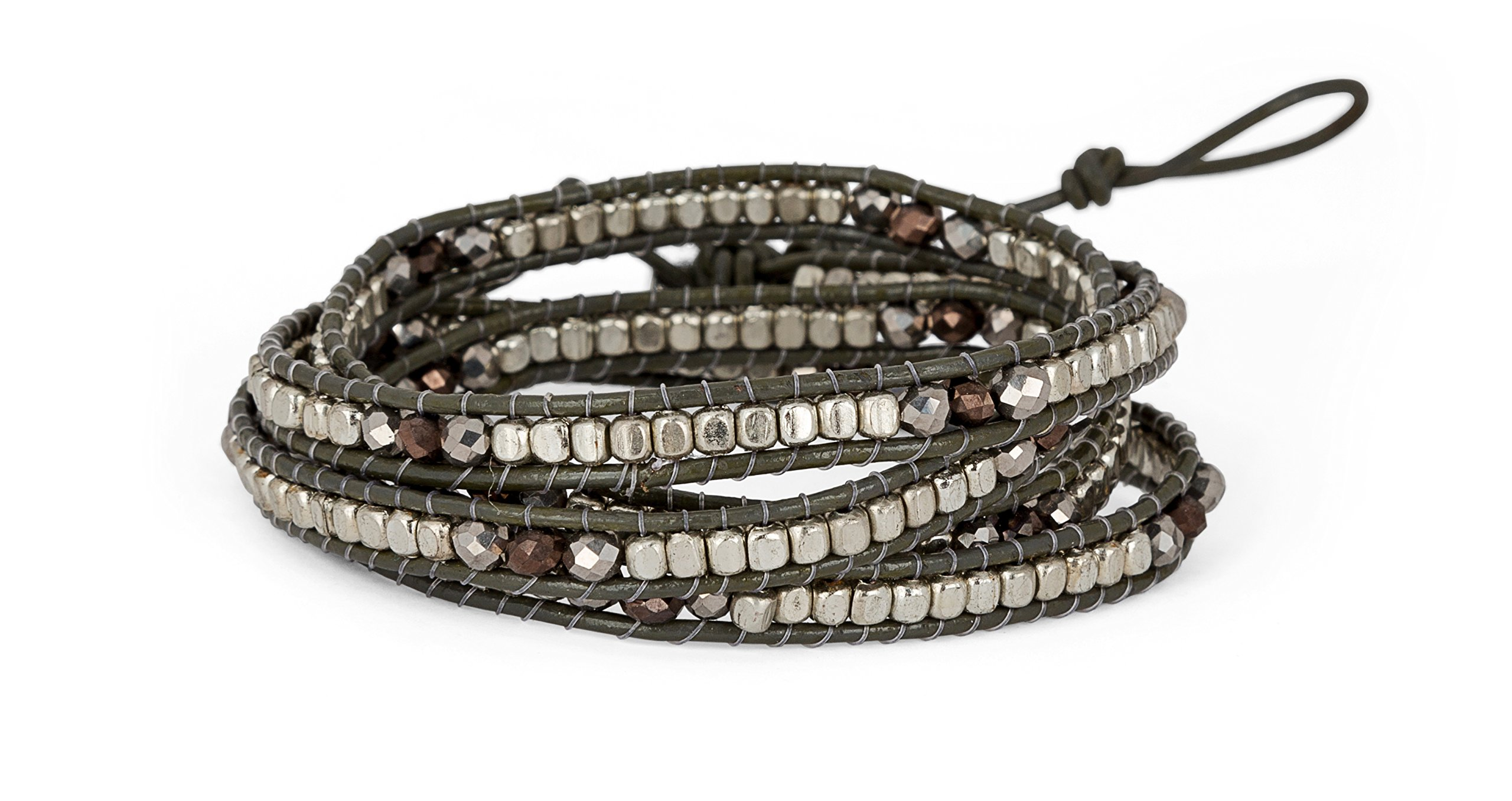 Handmade Leather Grey Boho 4 Wrap Bracelet Silver and Faceted Beads for Women | SPUNKYsoul Collection