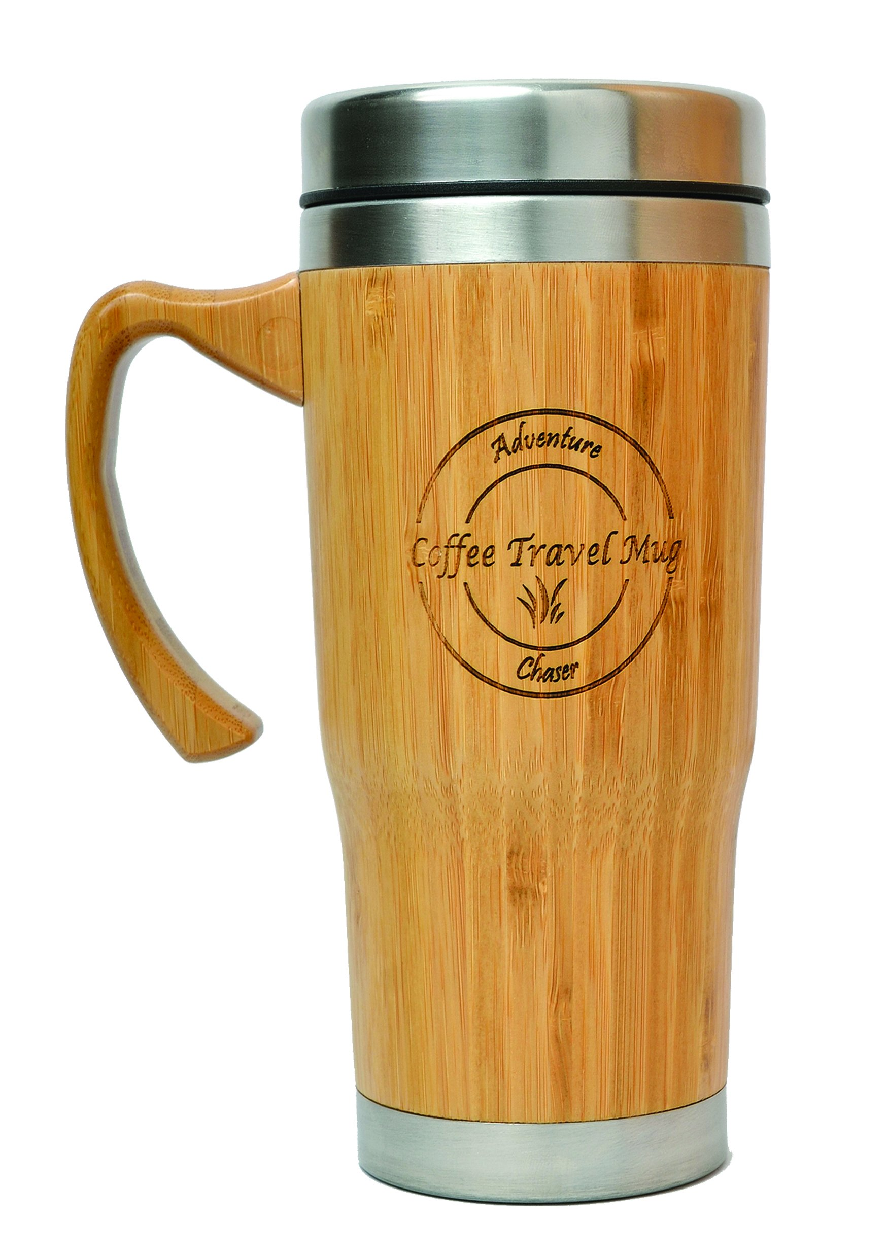 AdventureChaser Bamboo Travel Mug for Coffee and Tea | Premium Insulated Thermos with Handler & QuickSeal Lid | Stainless Steel Double Walled Interior | Spill Proof & Slip Resilient base | 16 oz.