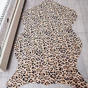 Pinkday Leopard Area Rug Carpet Shag Rug Foot Pad Antiskid Mat Plush Carpet (2'7''x5')