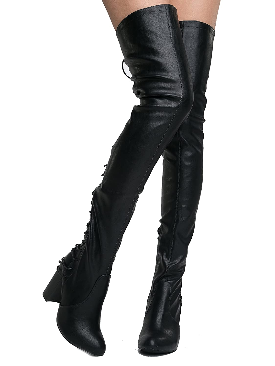 21843cf21f8f Amazon.com | J. Adams Koko Thigh High - High Heel Shoe - Gorgeous Lace up  Over The Knee Boot | Over-the-Knee