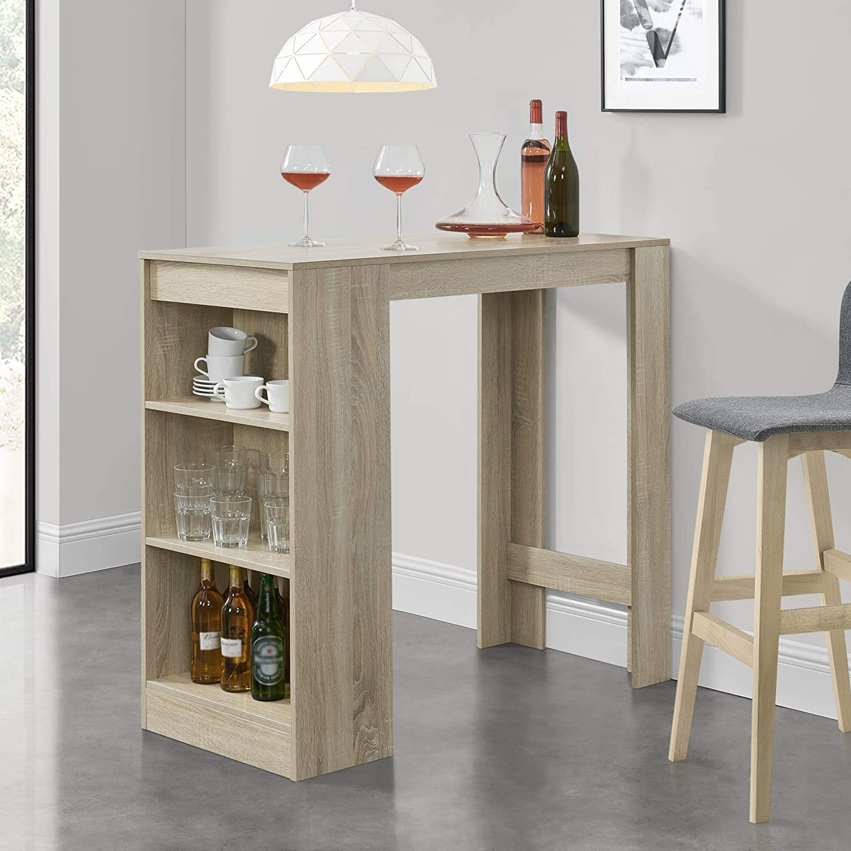 Bancone Tavolo Alto da Bar 110 x 50 x 103 cm Penisola Cucina con 3 Ripiani Effetto Rovere en.casa