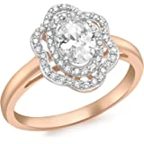 Carissima Gold 9 ct Rose Gold Cubic Zirconia Cluster Flower Ring - Size L